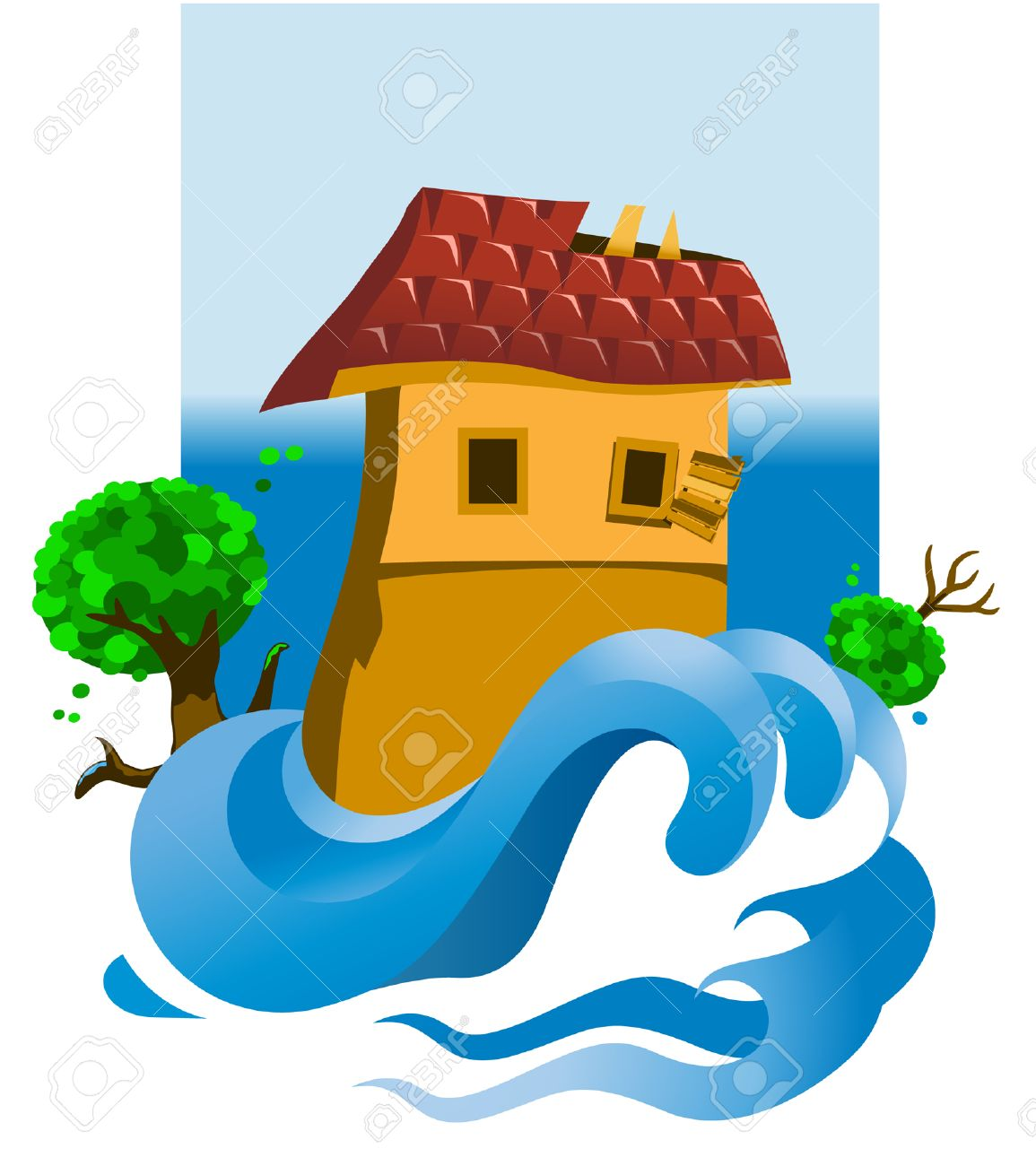 Illustration of a flooded house Stock Vector - 8065156