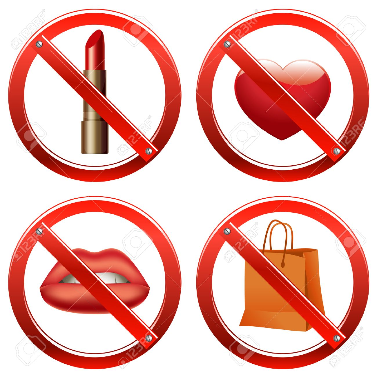 Set of signs banning a number of things like use of cosmetics, freedom of speech, manifestation of feelings, and shopping Stock Vector - 8067455