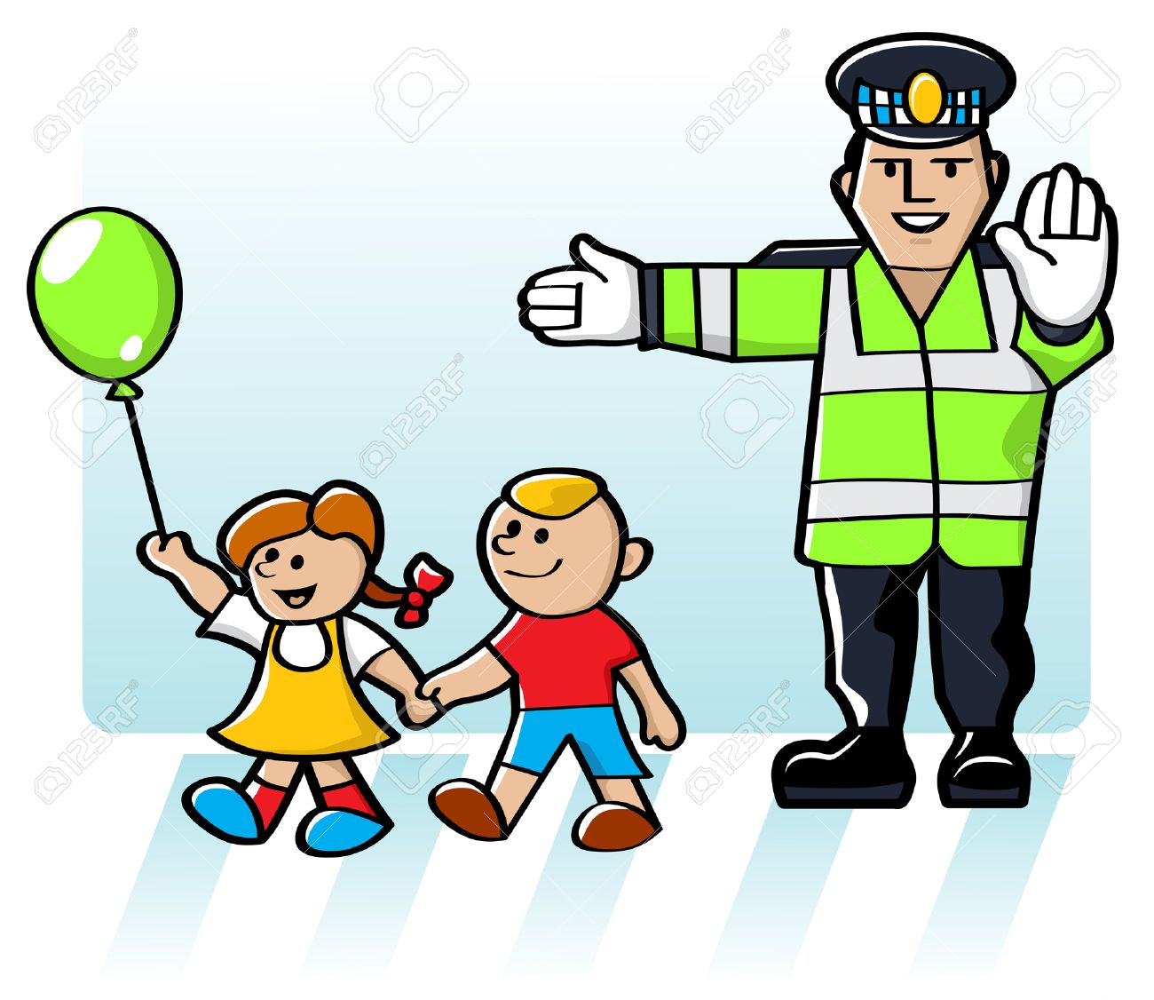 Illustration Of A Crossing Guard Stopping The Flow Of Traffic So ...