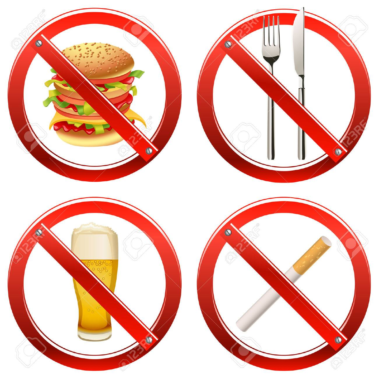 Set of signs banning smoking and food or drink in a certain area Stock Vector - 8164156