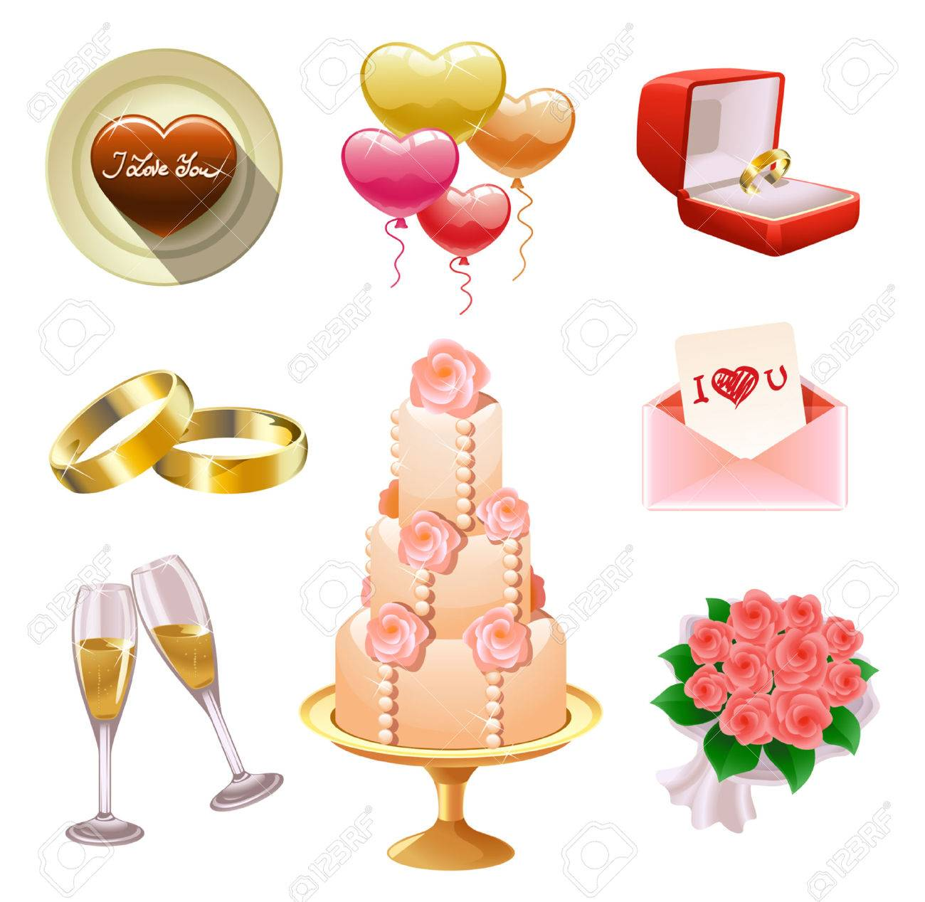 Collection of wedding- and Valentine's-related objects Stock Vector - 8639631