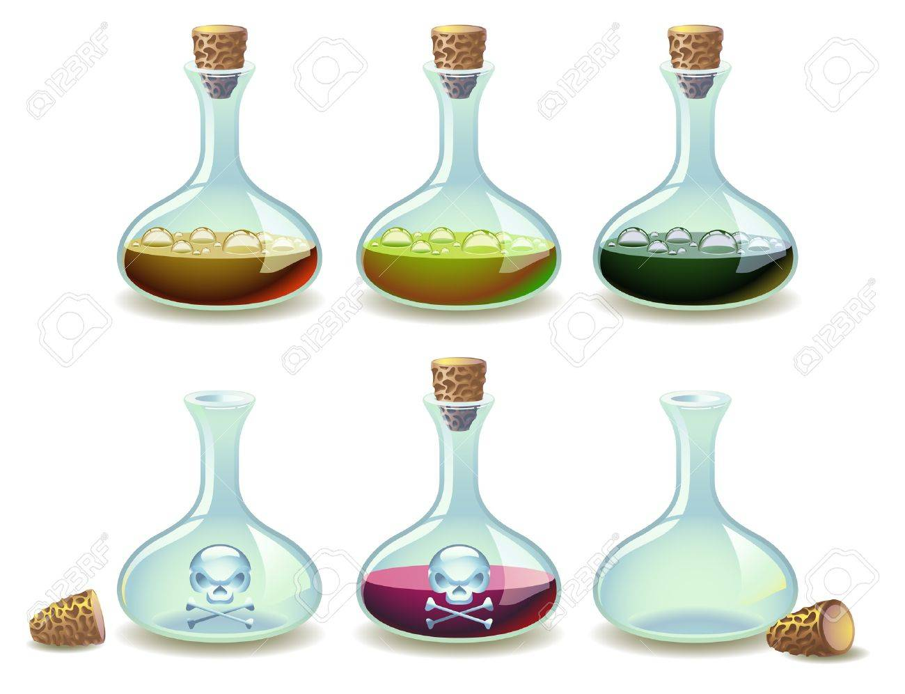Set of colorful potions and empty vials Stock Vector - 9517394