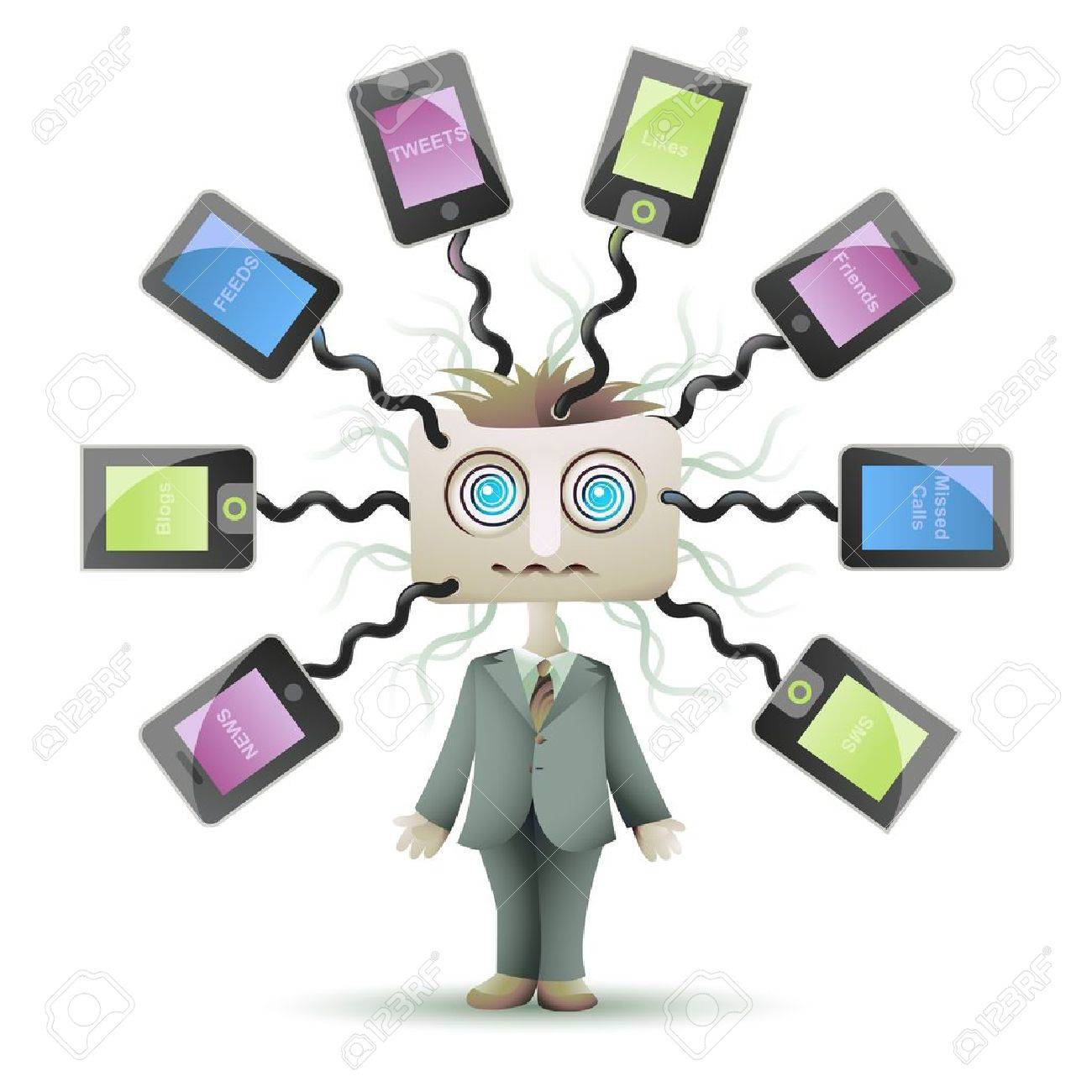 Social networking guy with square head and dizzy eyes, plugged into cyberspace Stock Vector - 14173818