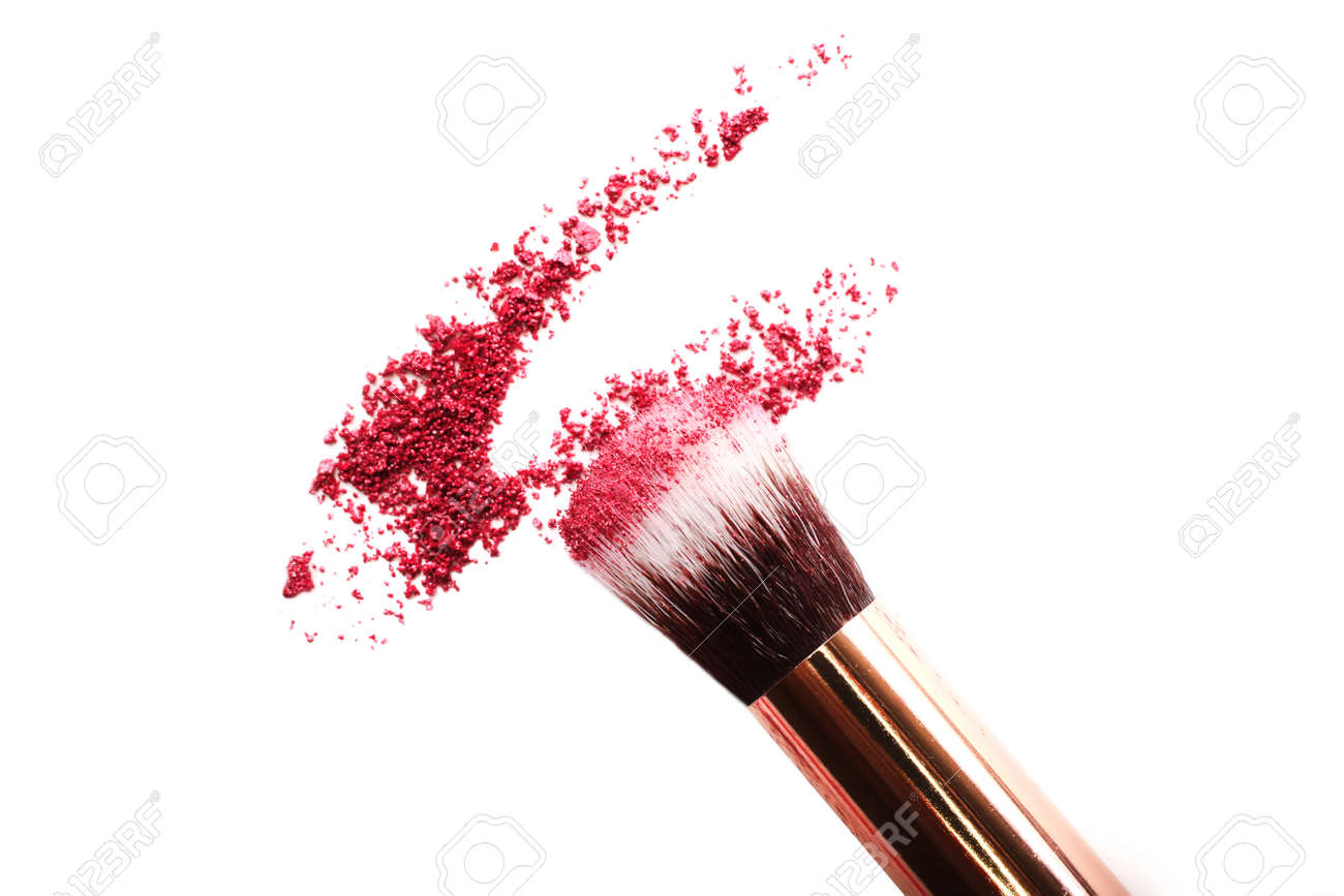 Crushed eyeshadow with make up brush.Isolated on white.Cosmetics concept.Top view. - 140776538