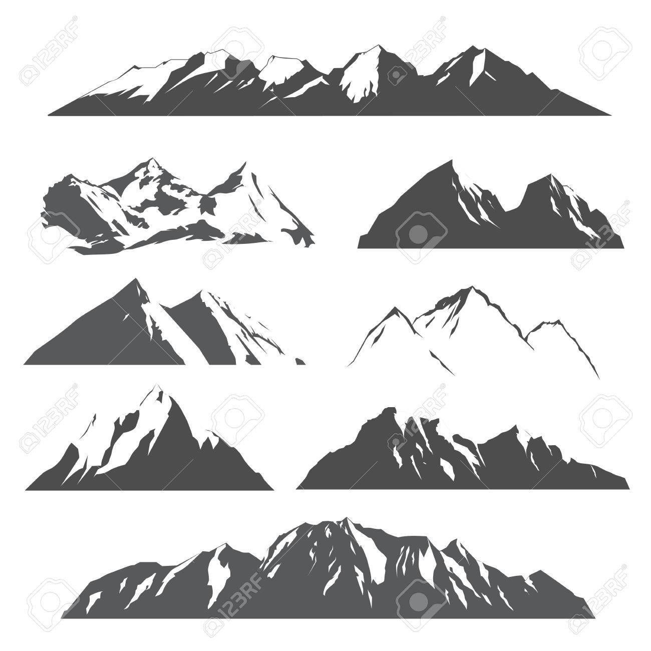 set of vector silhouettes of the mountains on white background - 72315455