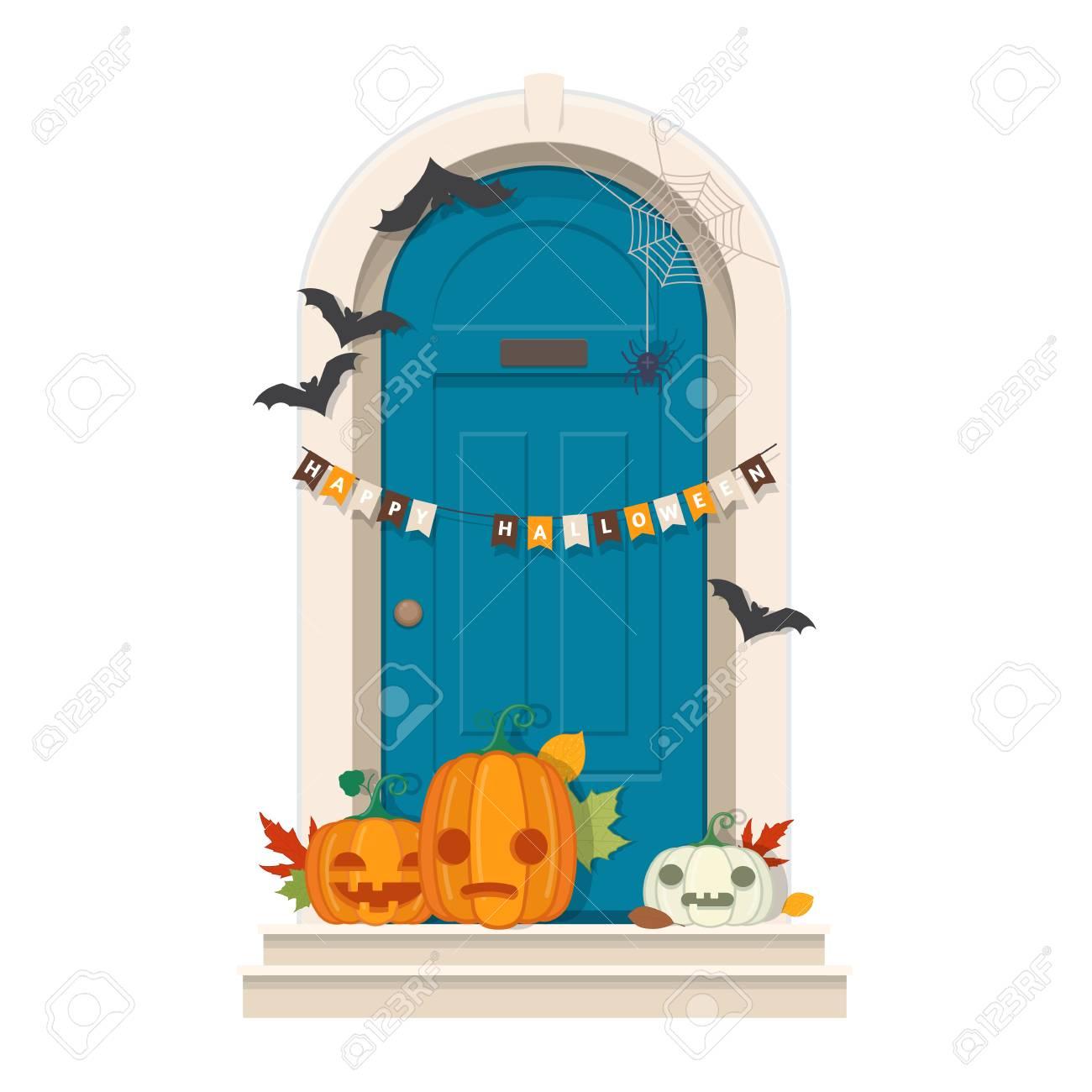 Halloween Door Decorations Front door with Halloween decorations
