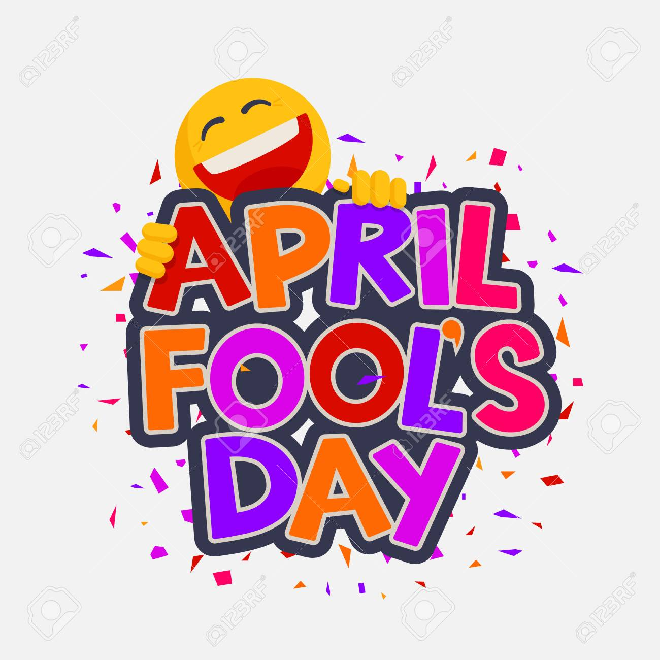 April Fools Day illustration with laughing smiley. Vector design for banner, greeting card and poster. Hand drawn lettering - 95472054