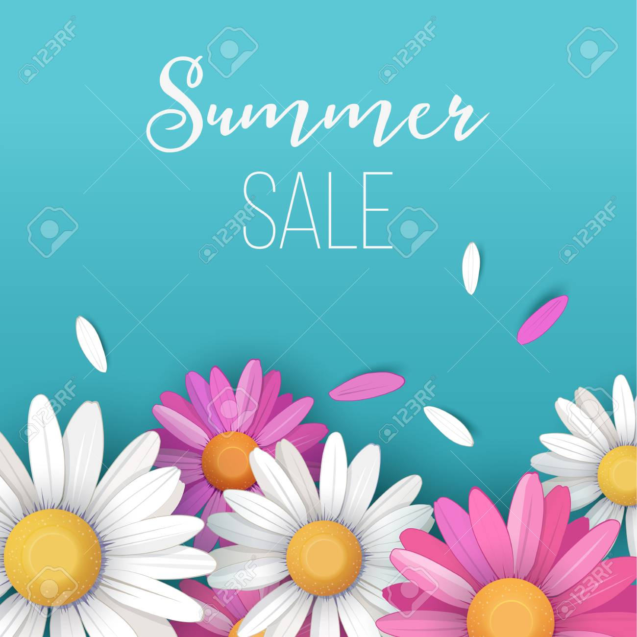 Summer sale background with colorful daisy flowers and petals summer sale background with colorful daisy flowers and petals on turquoise background vector illustration stock izmirmasajfo Images