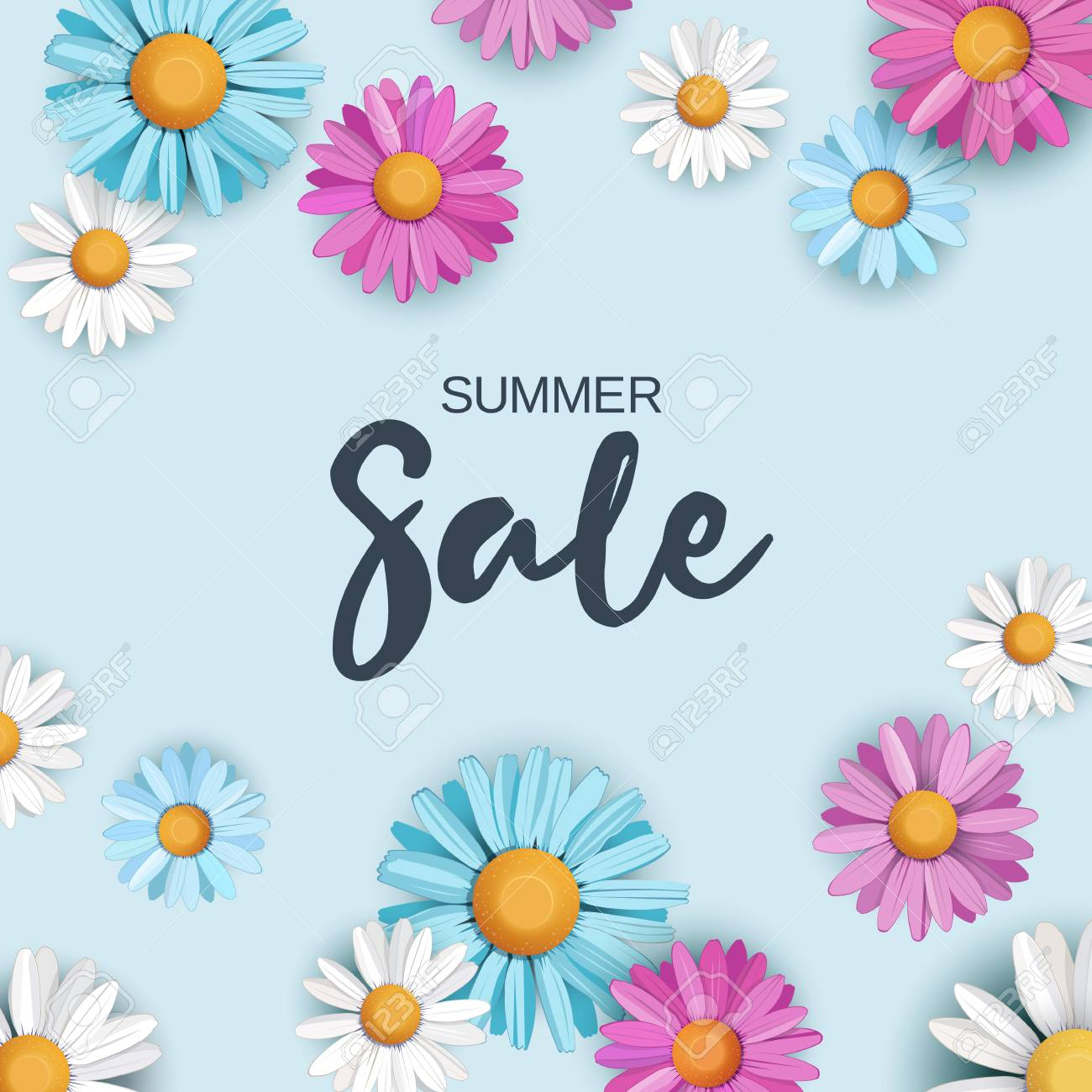 Summer sale background with colorful daisy flowers on blue summer sale background with colorful daisy flowers on blue background vector illustration stock vector izmirmasajfo Images