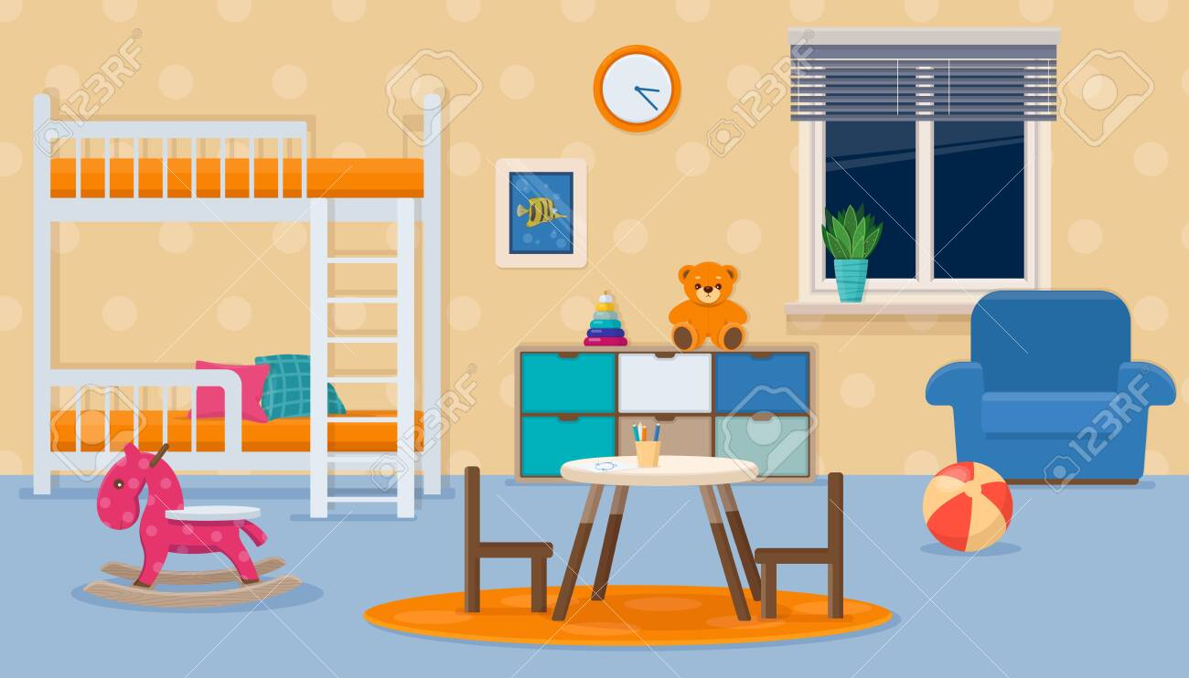 Image of: Kids Room With Neutral Colors Childrens Bedroom Interior With Royalty Free Cliparts Vectors And Stock Illustration Image 141277595