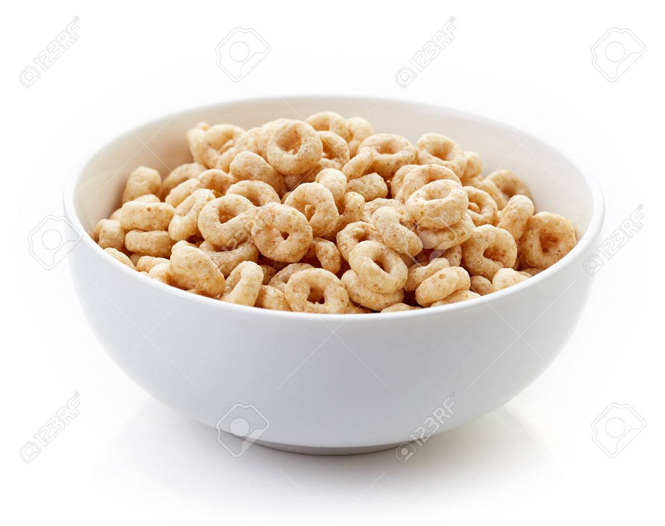 Bowl of Whole Grain Cheerios Cereal isolated on white background - 61085523