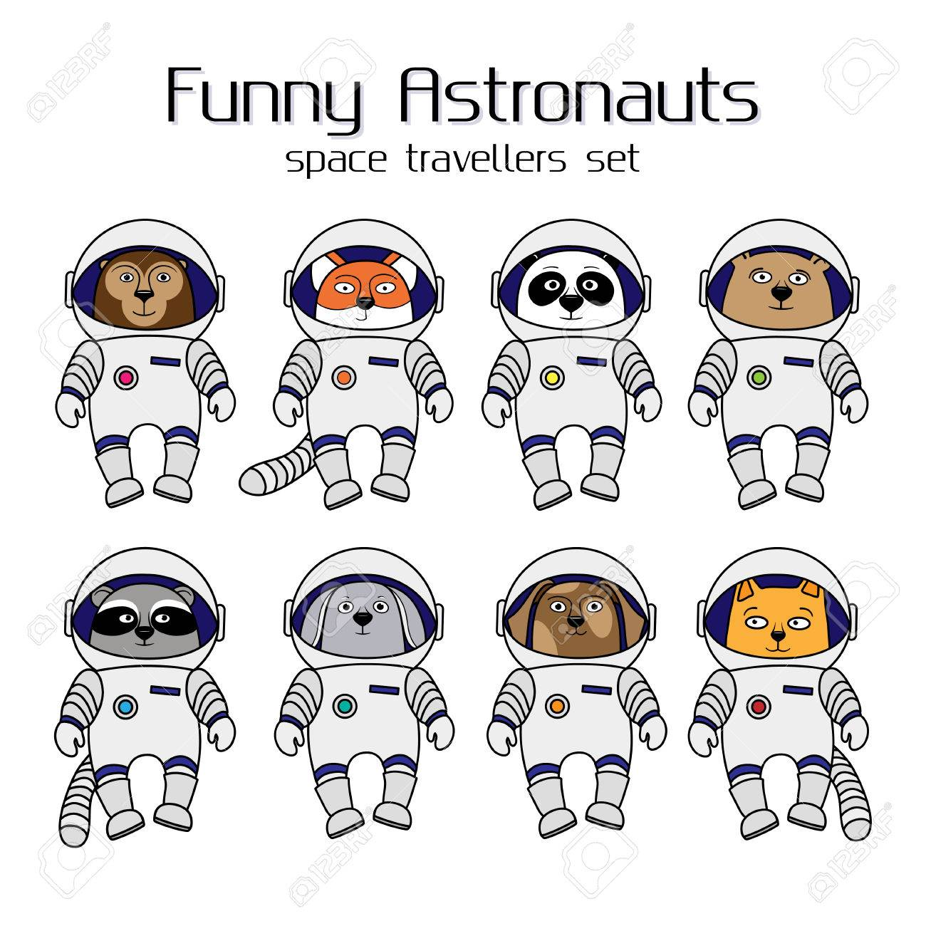 かわいい動物の宇宙飛行士一連の漫画イラスト白背景で分離されました