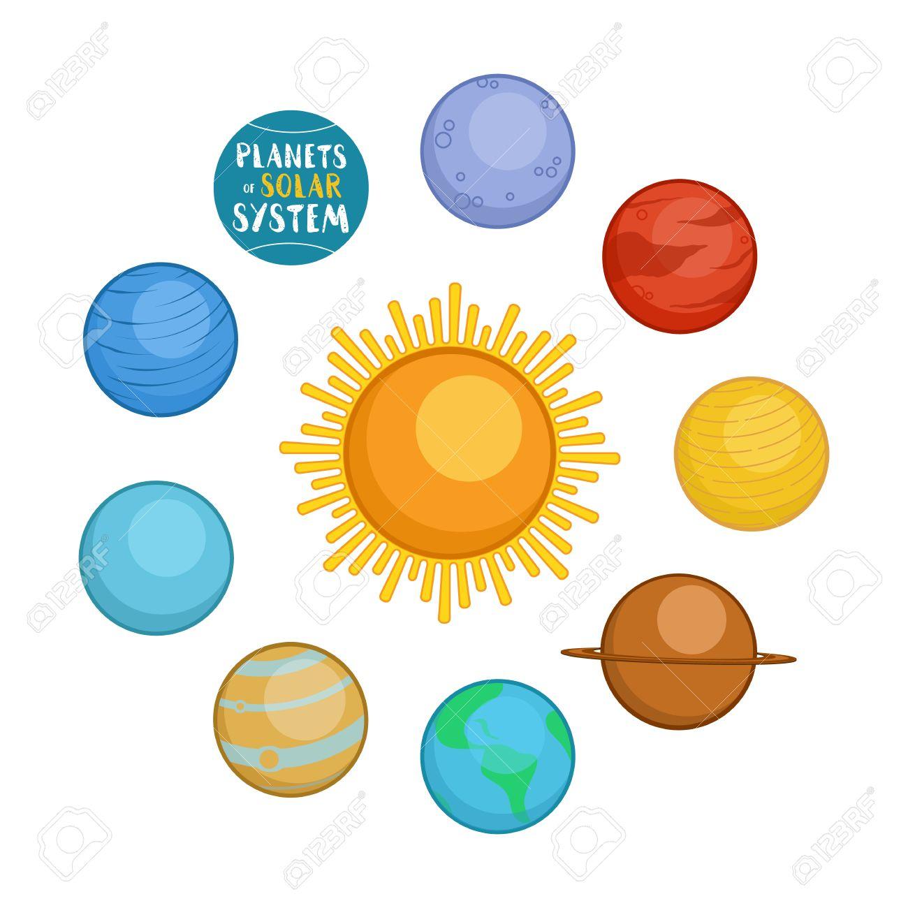 Los Planetas Del Sistema Solar Estilo De Ilustración Vectorial De Dibujos Animados Aislado En El Fondo Blanco Planetas Estilo De Dibujos Animados