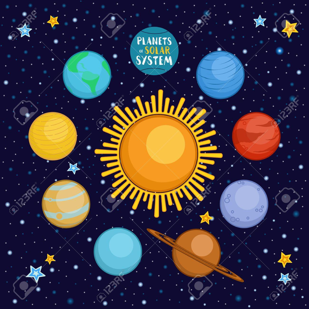 Los Planetas Del Sistema Solar En El Espacio Exterior Estilo De Dibujos Animados Ilustración Vectorial Planetas Estilo De Dibujos Animados Lindo