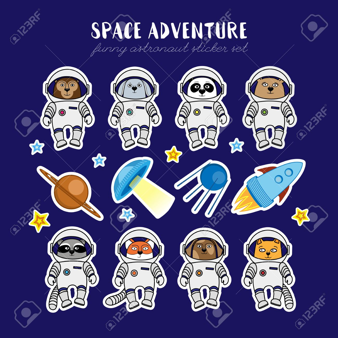 Set of cute animal astronauts rocket satellite UFO stars in cosmos stickers   Set Of Cute. Astronauts Stickers   louisvuittonukonlinestore com