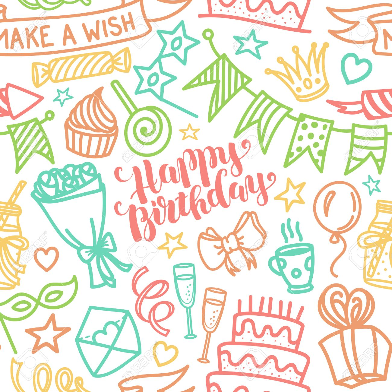 Happy Birthday Lettering And Doodle Seamless Pattern Vector Illustration On White Background Funny