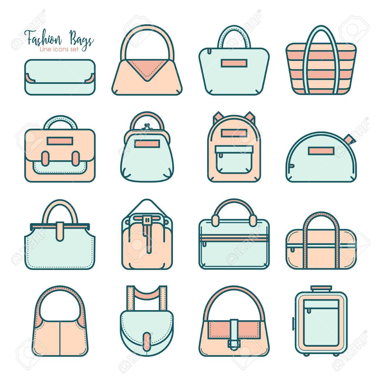 a85af8eb9 Conjunto de iconos de líneas de colores bolsa de moda, ilustración  vectorial aislados en fondo
