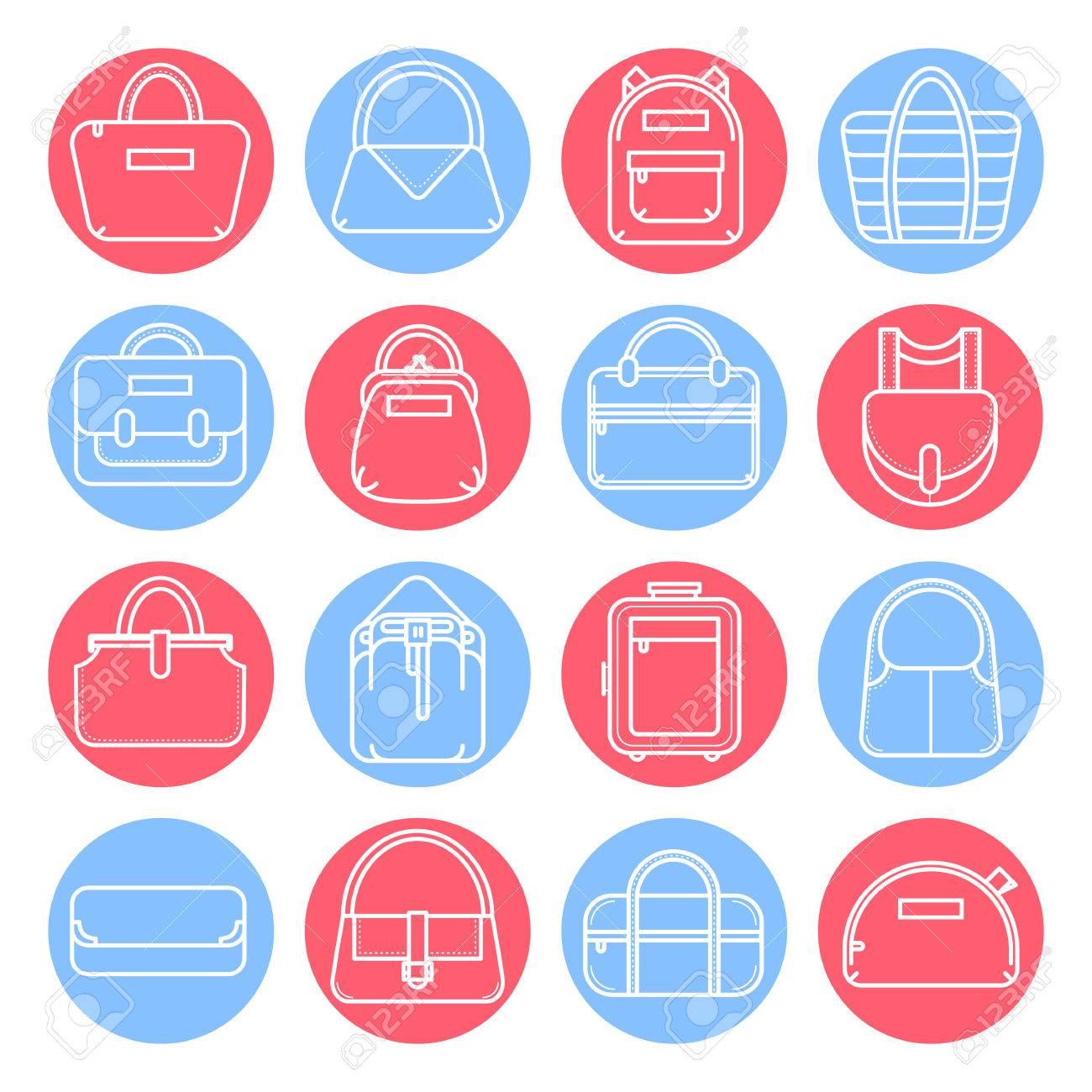 bb7554608 Conjunto De Iconos De Líneas Bolso De La Manera En Los Círculos De Color  Rojo Y Azul, Ilustración Vectorial Aislados En Fondo Blanco.