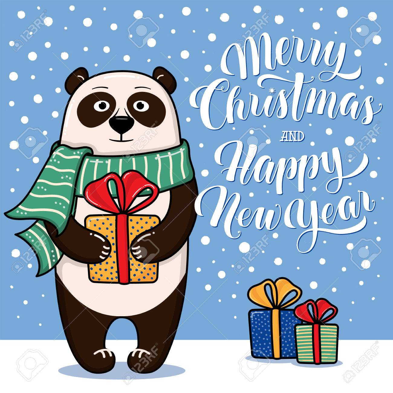 merry christmas and happy new year greeting card with panda gifts snow and lettering