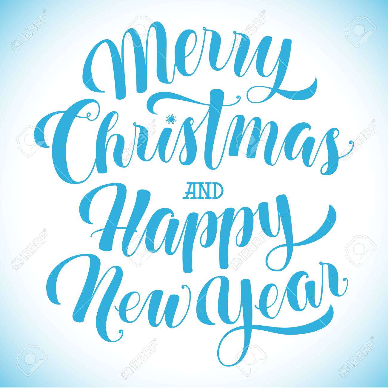 Merry Christmas And Happy New Year Text Greeting Card Banner