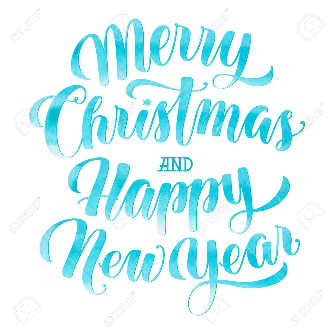 vector watercolor merry christmas and happy new year text calligraphic illustration isolated on white background blue colored merry christmas and happy