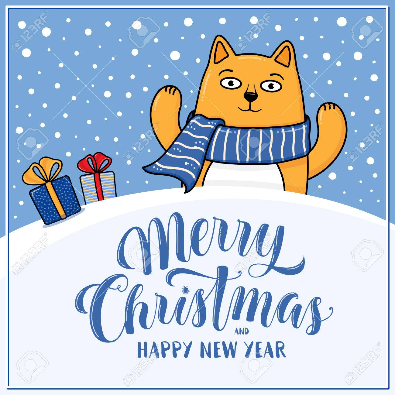 merry christmas and happy new year greeting card with happy cat gifts snow hills