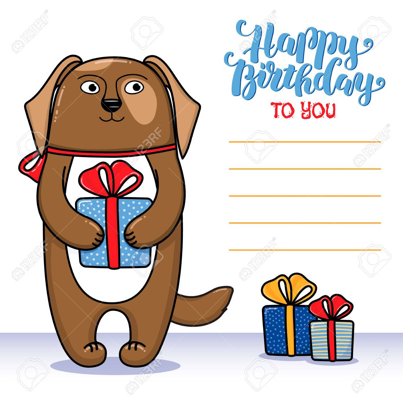 Happy birthday greeting card with dog holding a gift lettering happy birthday greeting card with dog holding a gift lettering and lines for congratulations and kristyandbryce Choice Image