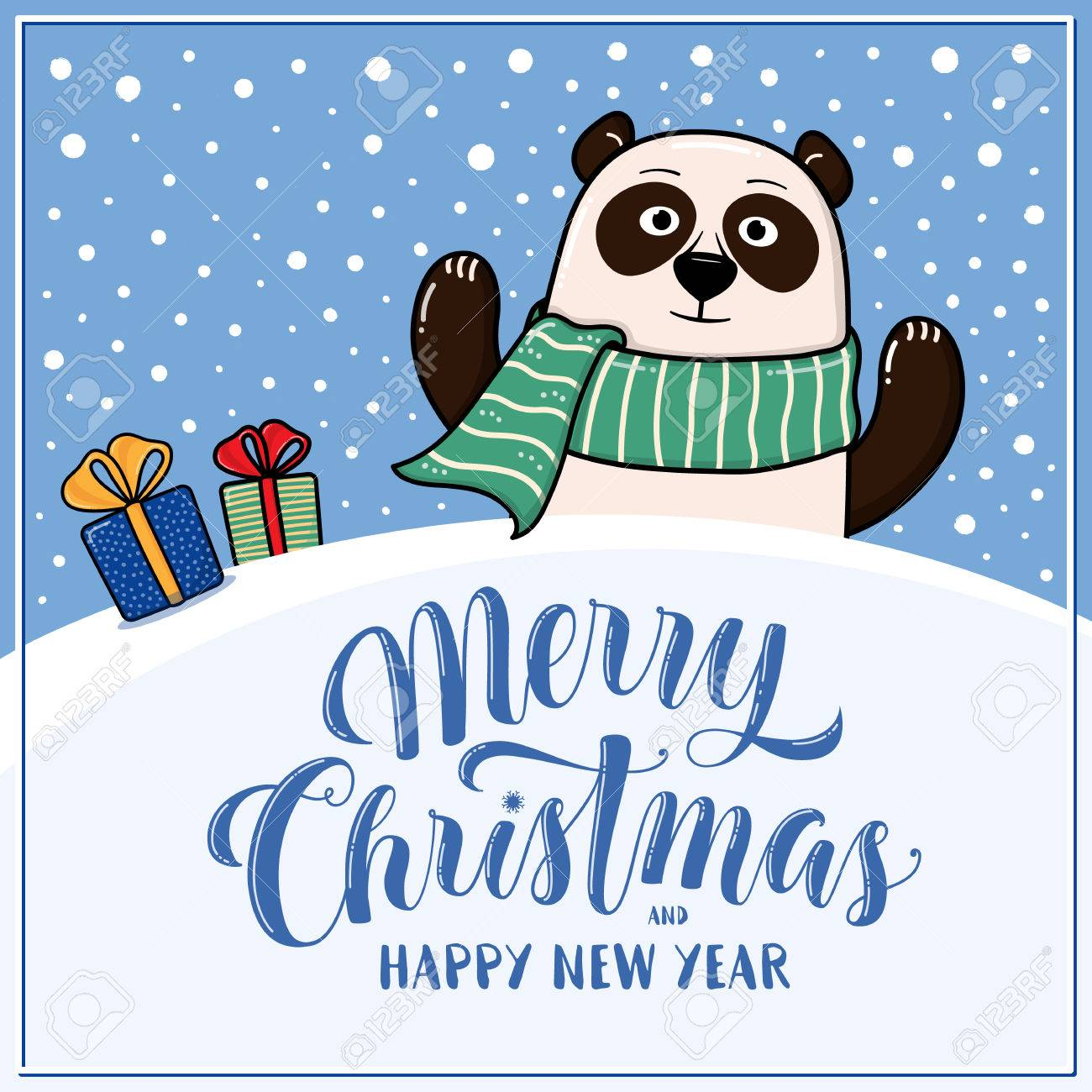 merry christmas and happy new year greeting card with panda gifts snow hills and