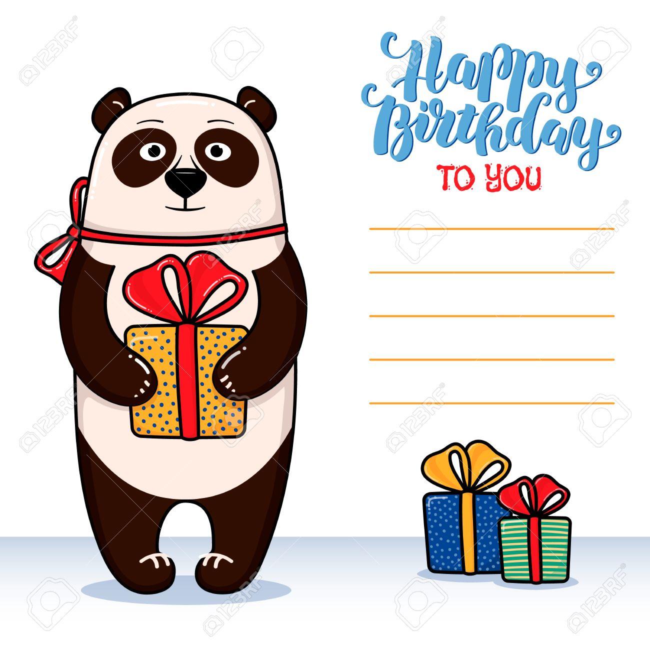 Happy birthday greeting card with panda holding gift lettering and happy birthday greeting card with panda holding gift lettering and lines for congratulations and signature bookmarktalkfo Choice Image