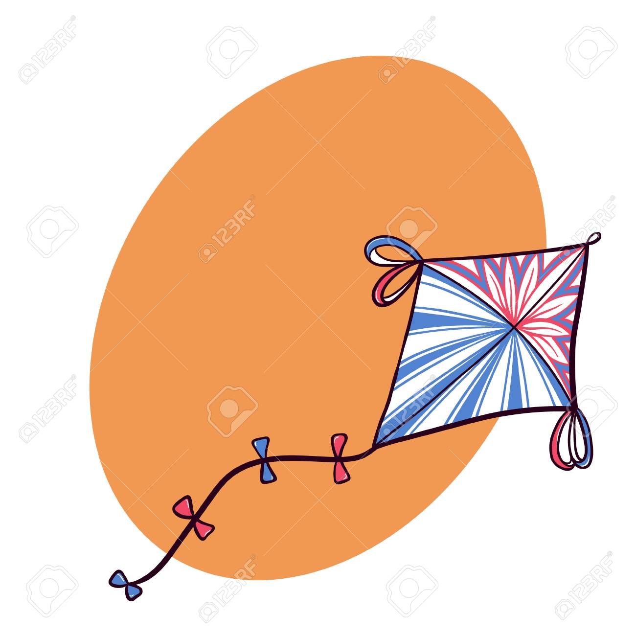 Hand Drawn Diamond Kite With Graphic Design Royalty Free Cliparts