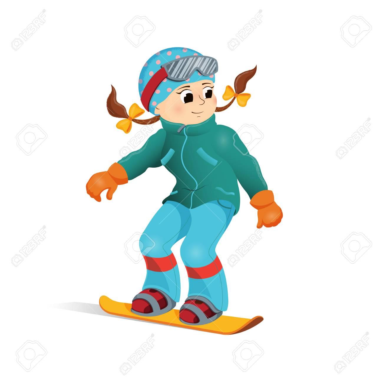 Niña Feliz En Ropa De Abrigo Snowboard Descenso Actividad De Deporte De Invierno Vector De Dibujos Animados Snowboard Niña Feliz Vacaciones De