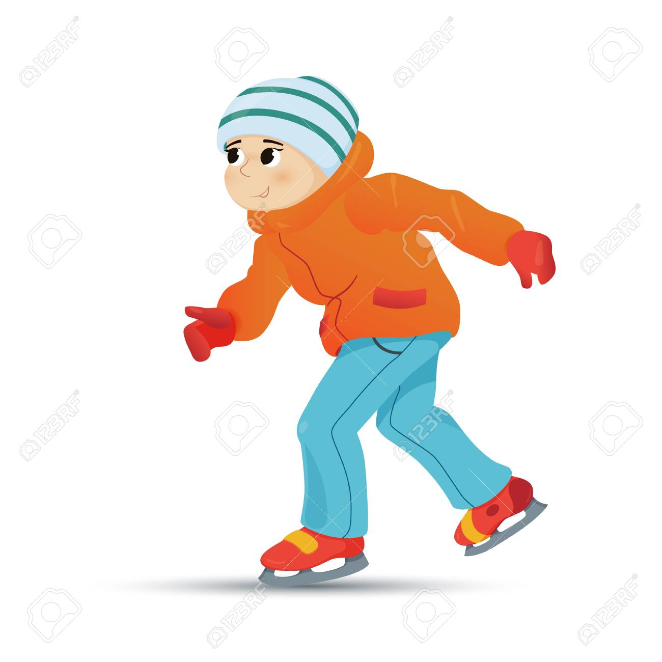Happy Boy In Warm Clothes Ice Skating Winter Sport Activity Retro Style Cartoon Vector