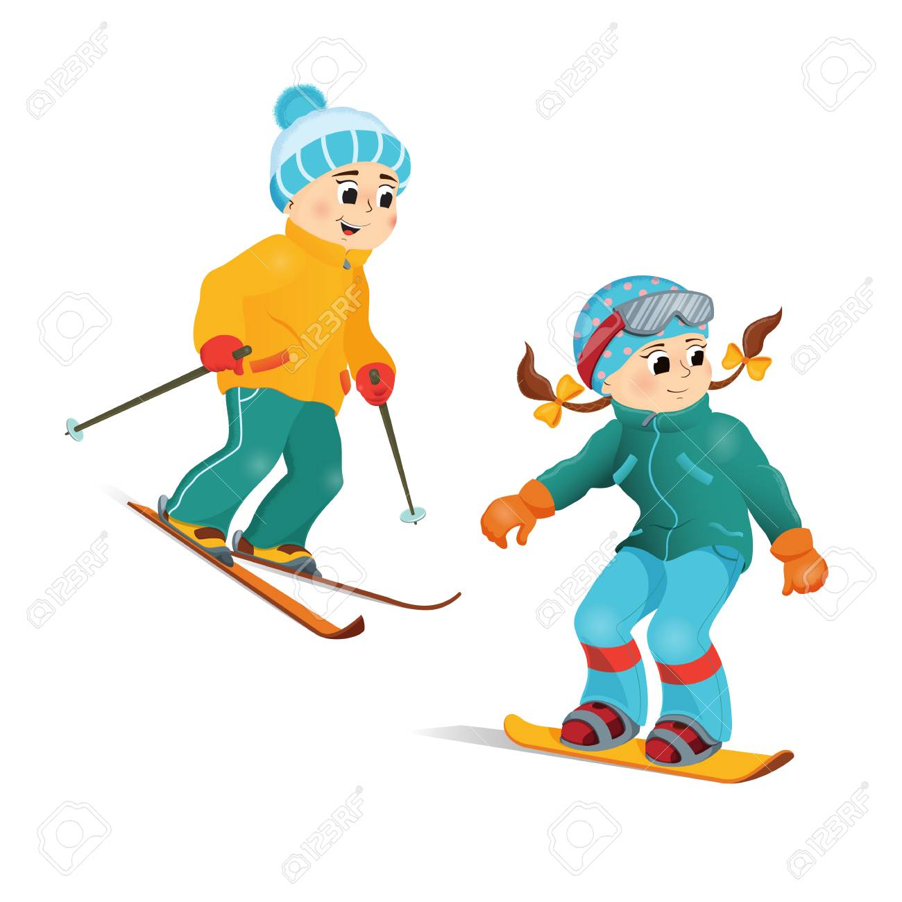 Happy Smiling Boy In Warm Clothes Skiing Downhill Winter Sport Activity Retro Style