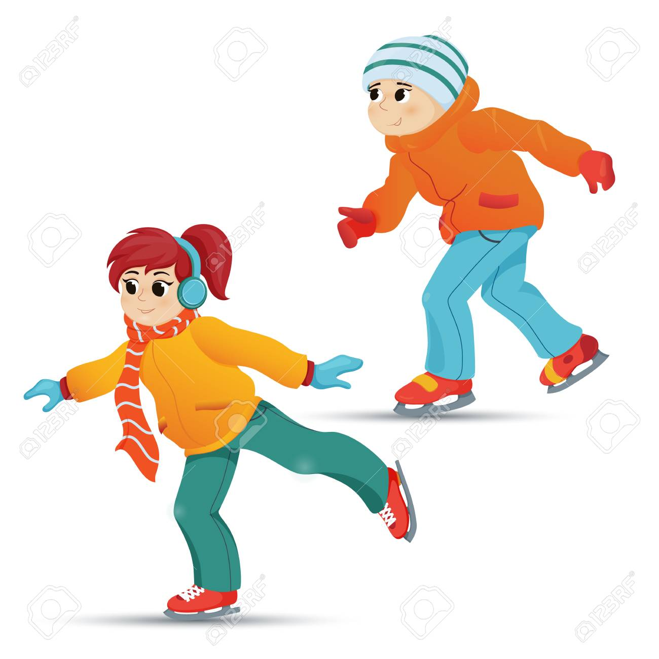 Retro Cartoon Vector Illustration Isolated On White Background Two Friends Boy And Girl Ice Skating Winter Vacation Outdoor Activity