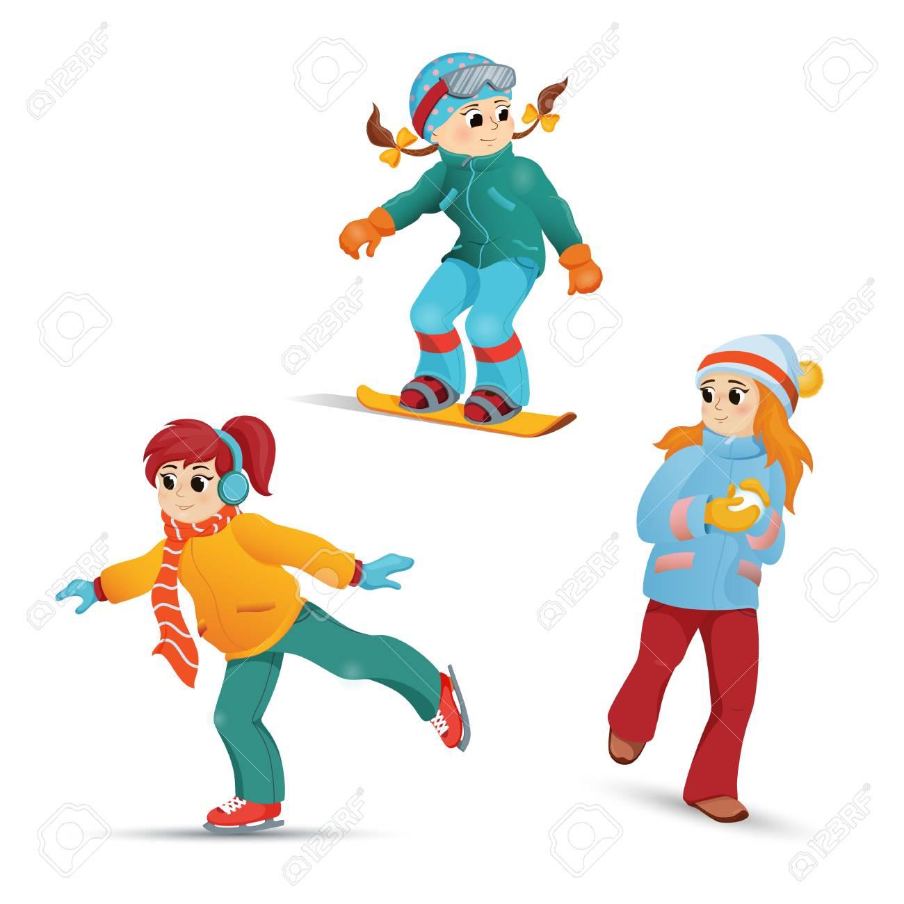 girls having fun in winter ice skating snowboarding playing rh 123rf com
