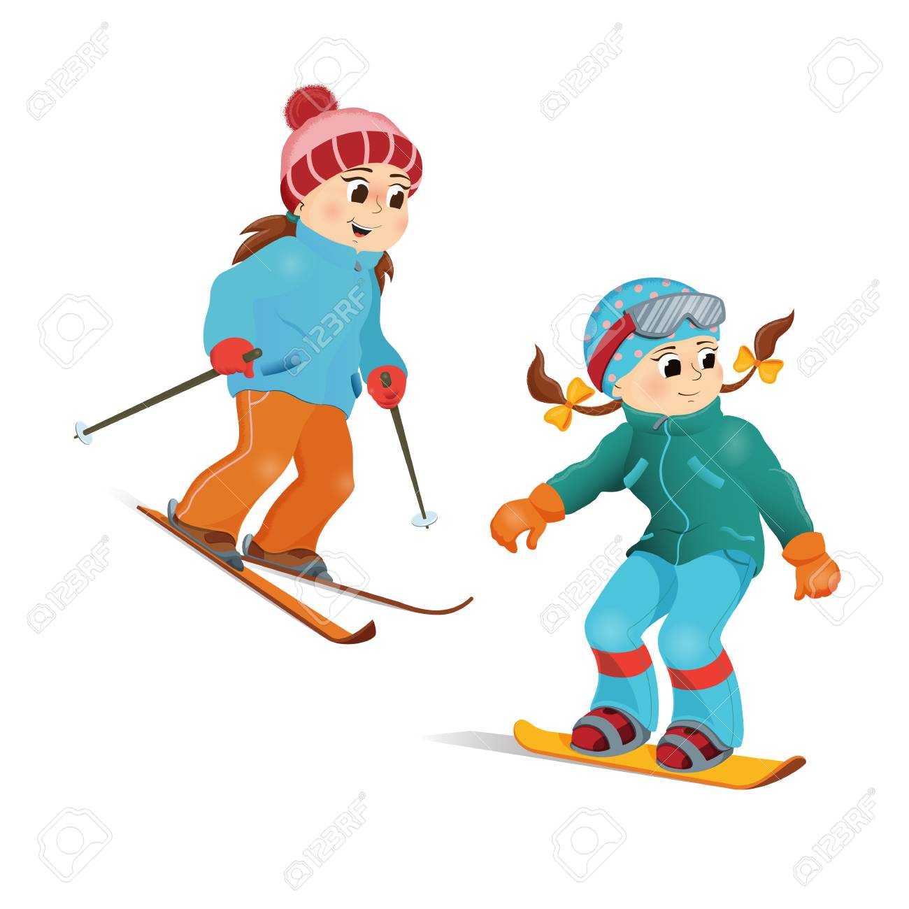 b5f6f6132c9 Illustration - Two girls in warm clothes snowboarding and skiing