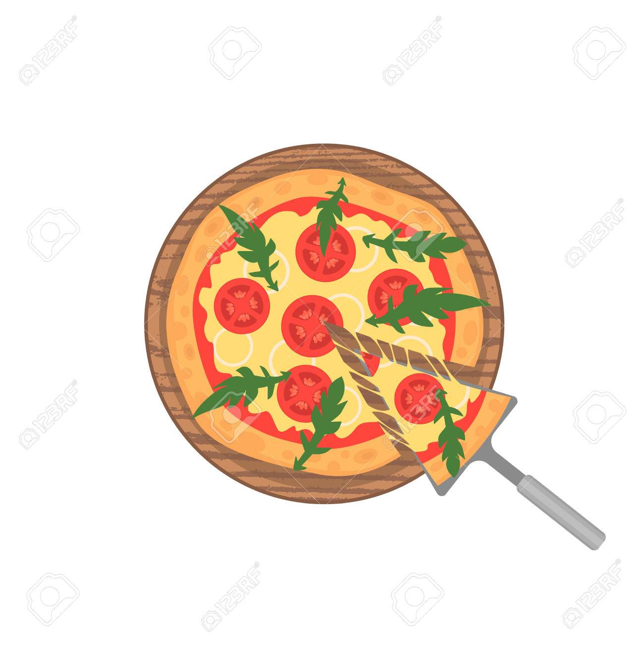 Margherita Pizza On Wooden Board White Slice With Melting Cheese Illustration Cartoon