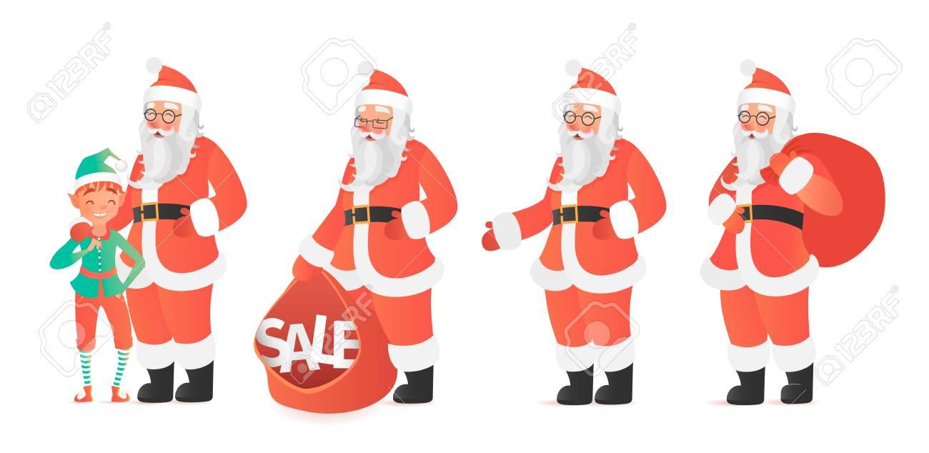 Design Template With Santa Claus And Elf Illustration. Cartoon ...