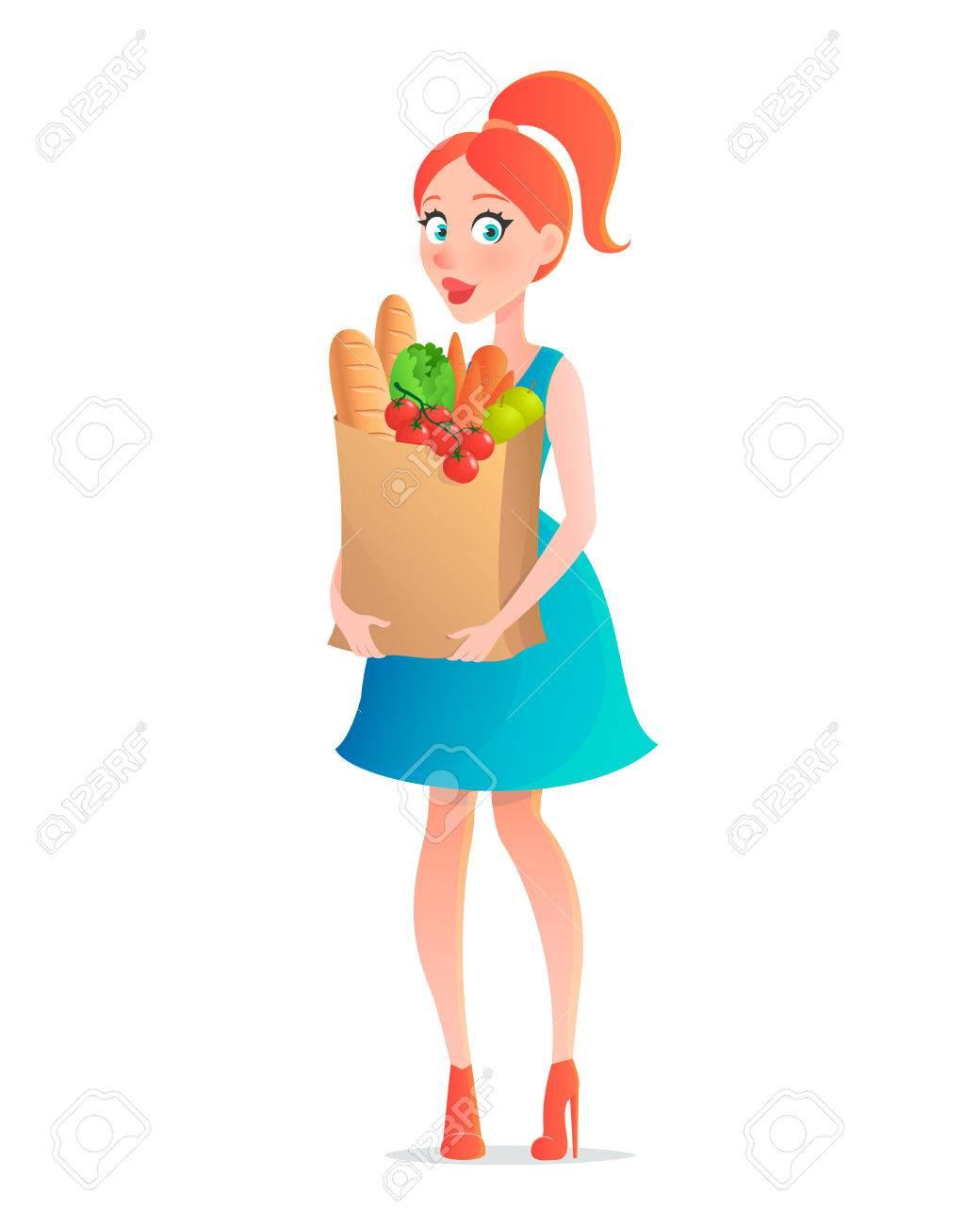 Ilustración vectorial mujer de dibujos animados con una bolsa de papel lleno de alimentos y bebidas. Mujer con un paquete de comestibles. Aislado