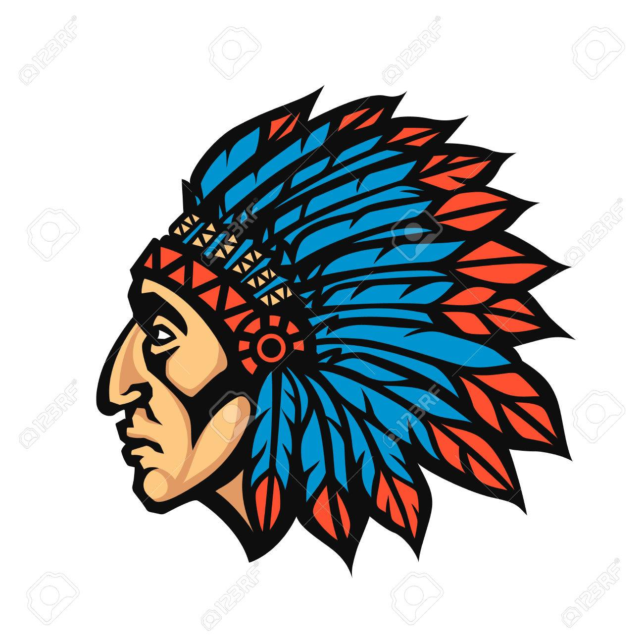 2bc59d04dffdf Native American Indian Chief head profile. Mascot sport team logo. Vector  illustration logotype Stock