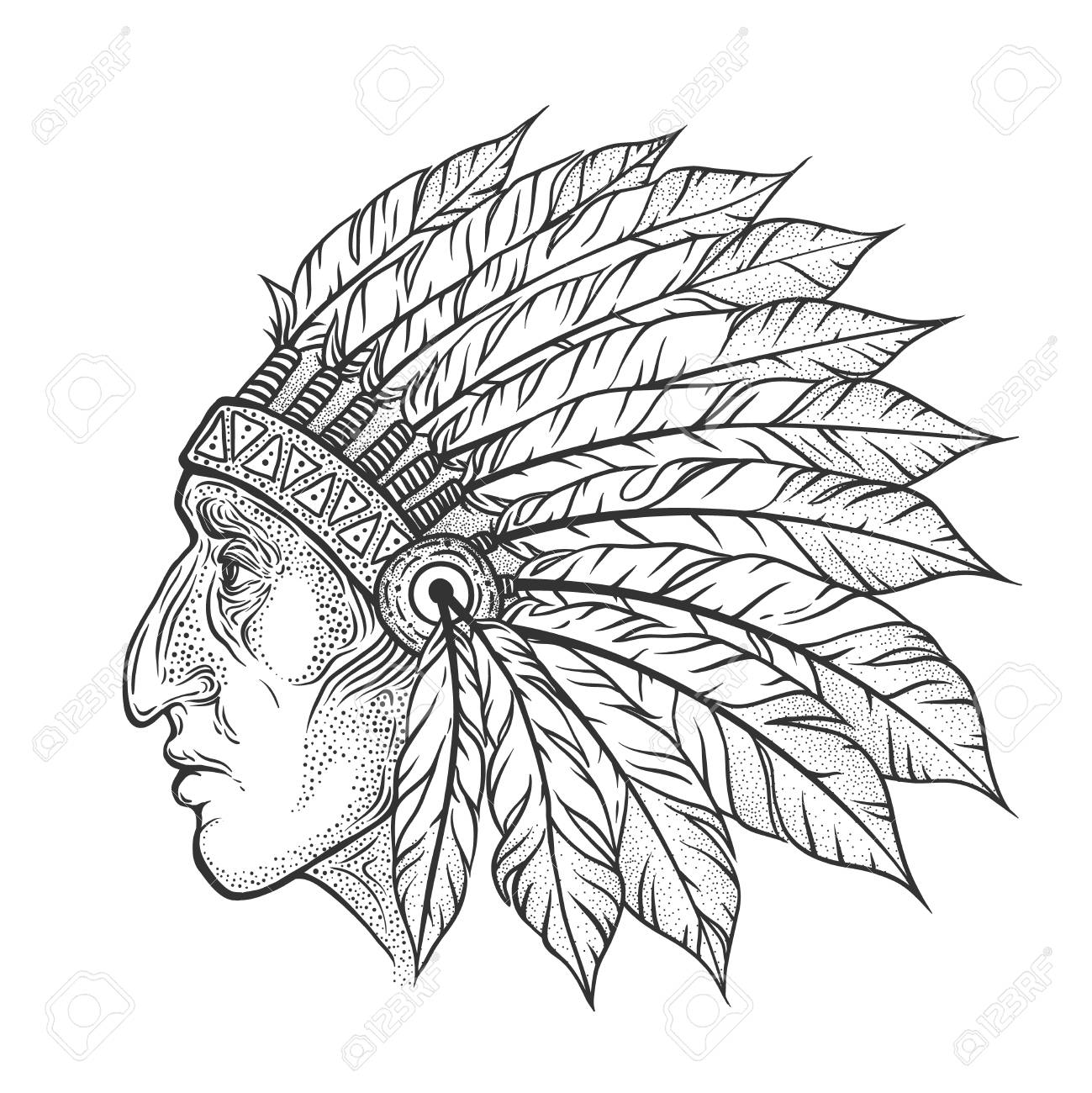 a61494e8ba560 Native American Indian chief head profile. Vector vintage illustration.  Hand drawn style. Blackwork