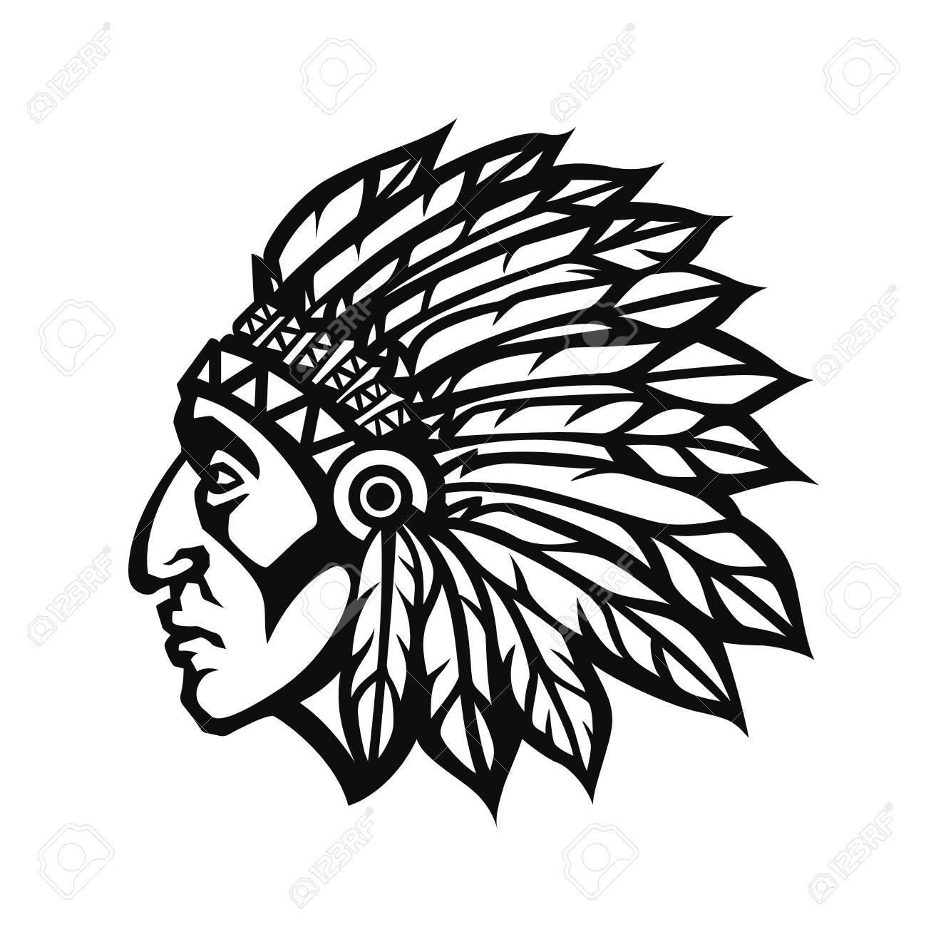 Perfil Indio Nativo Americano Jefe Cabeza. Mascota Del Logotipo Del ...