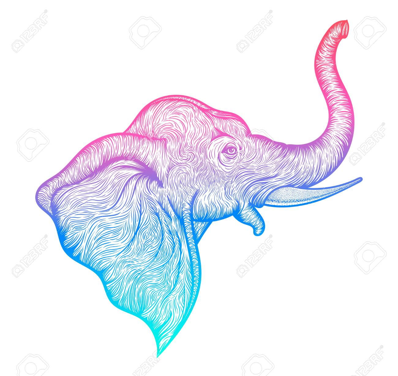 b7319ec6ef32d Foto de archivo - La cabeza de un elefante en línea del perfil del diseño  del arte del boho. Ilustración de la India dios Ganesha. vector el bosquejo