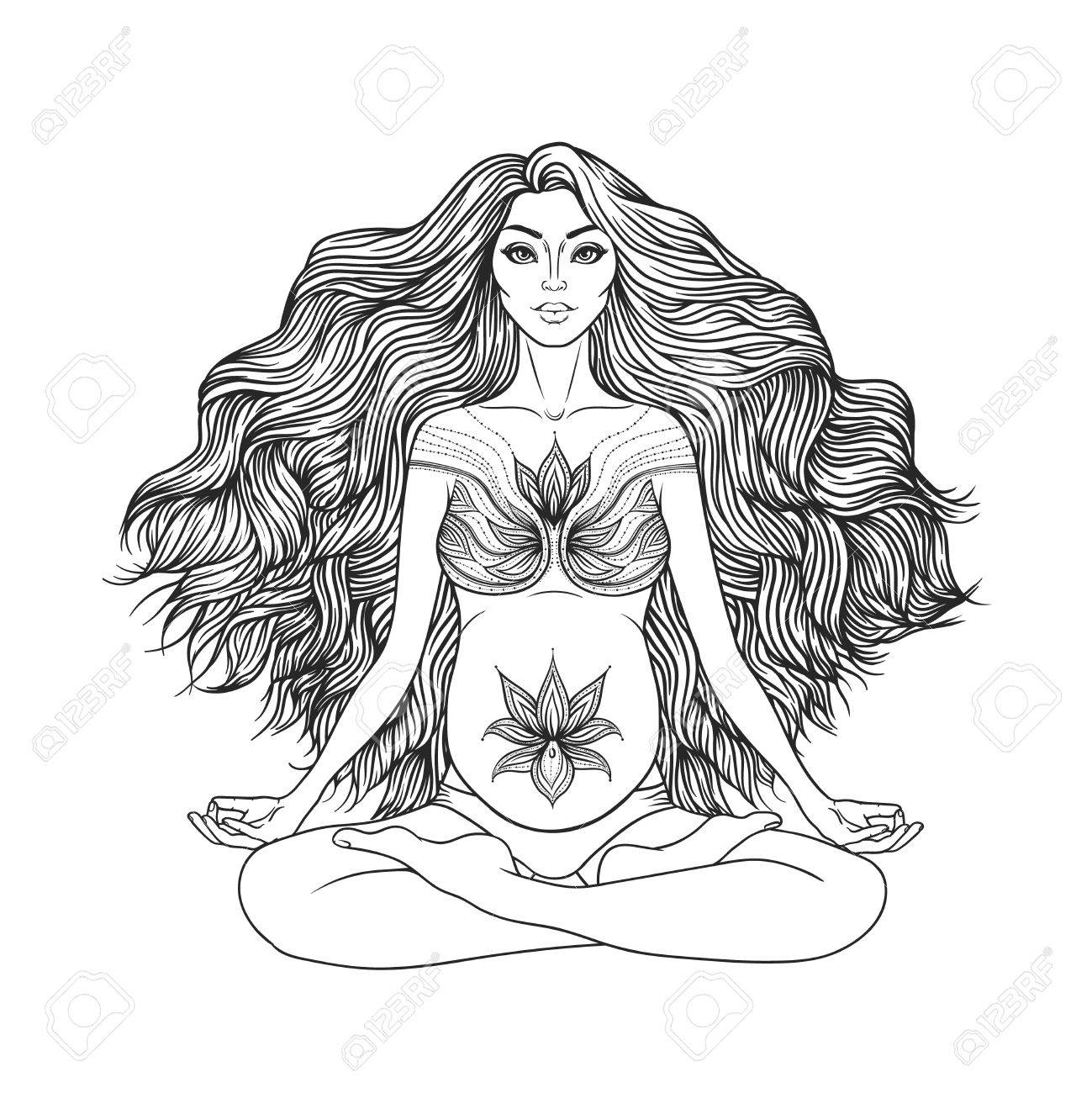 Hand Drawn Vector Illustration Of Pregnant Woman Sitting In Lotus Pose Yoga Meditation Stock