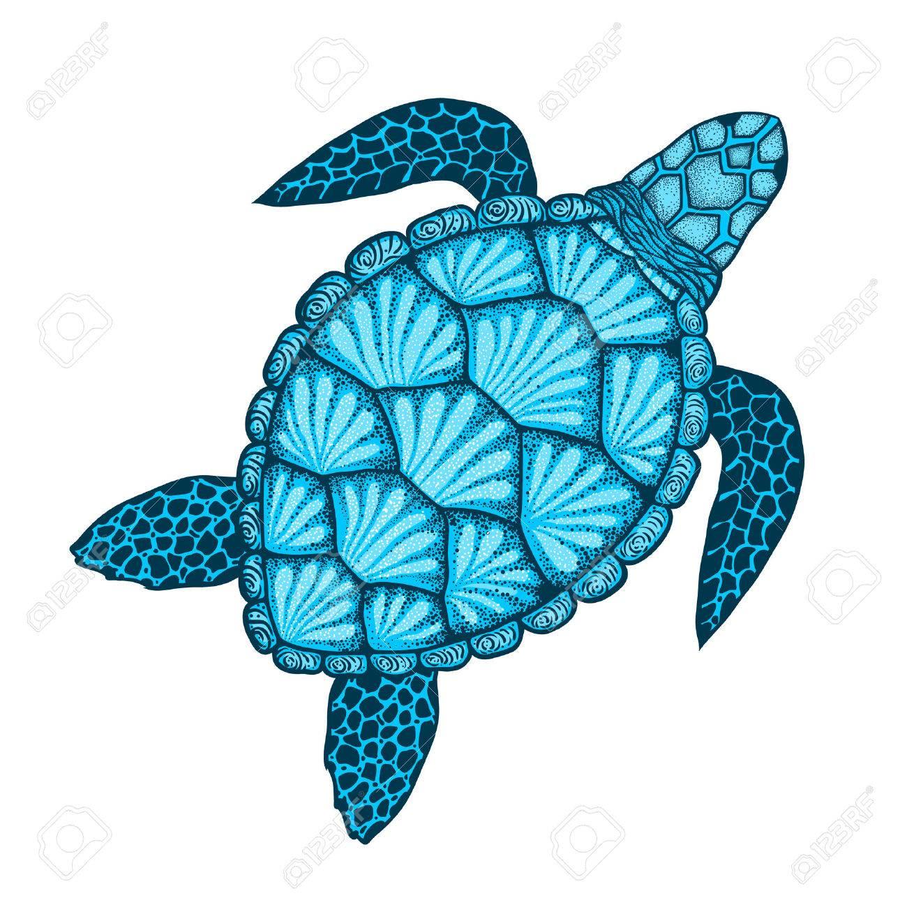 Sea Turtle In Line Art Style Hand Drawn Vector Illustration