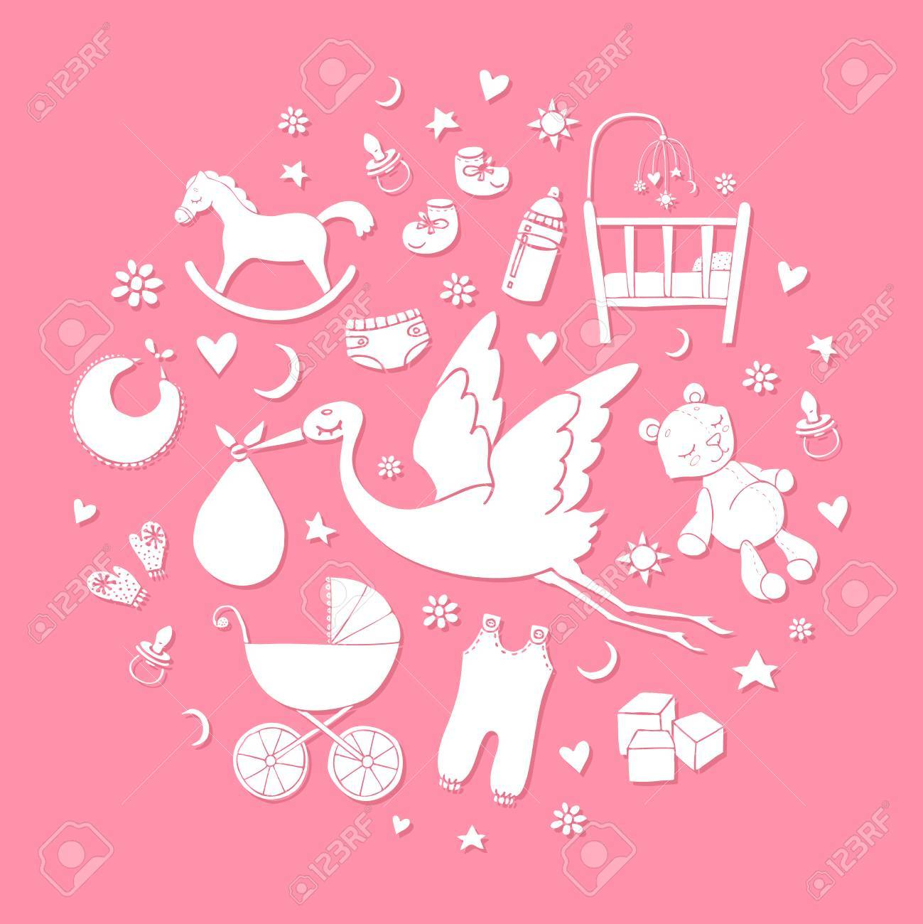 958e95ba9 Set Of Hand Drawn Elements. Baby Girl Stuff. Collection Of Vector ...