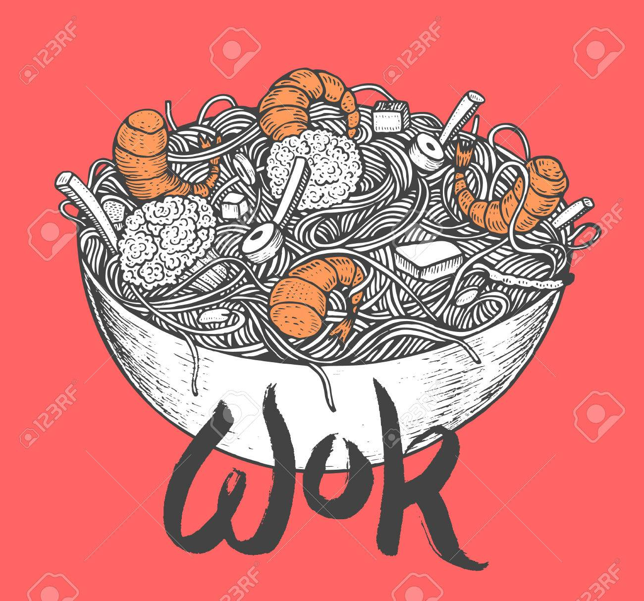 Asian fastfood with noodles shrimps, pepper, vegetables in a plate. Hand drawn vector illustration of tasty food doodle style Foto de archivo - 75105665