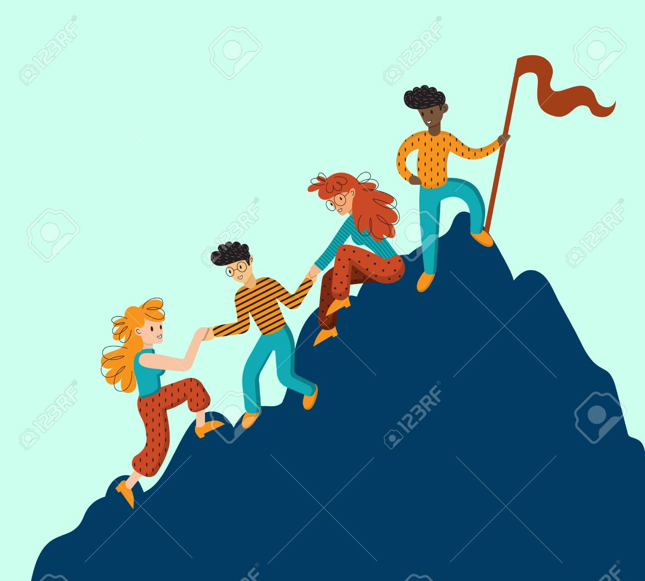 Group of climbers helping each other. Concept of teamwork. International business people in mountains. Leader on the top. Vector illustration in flat cartoon style. - 114495148