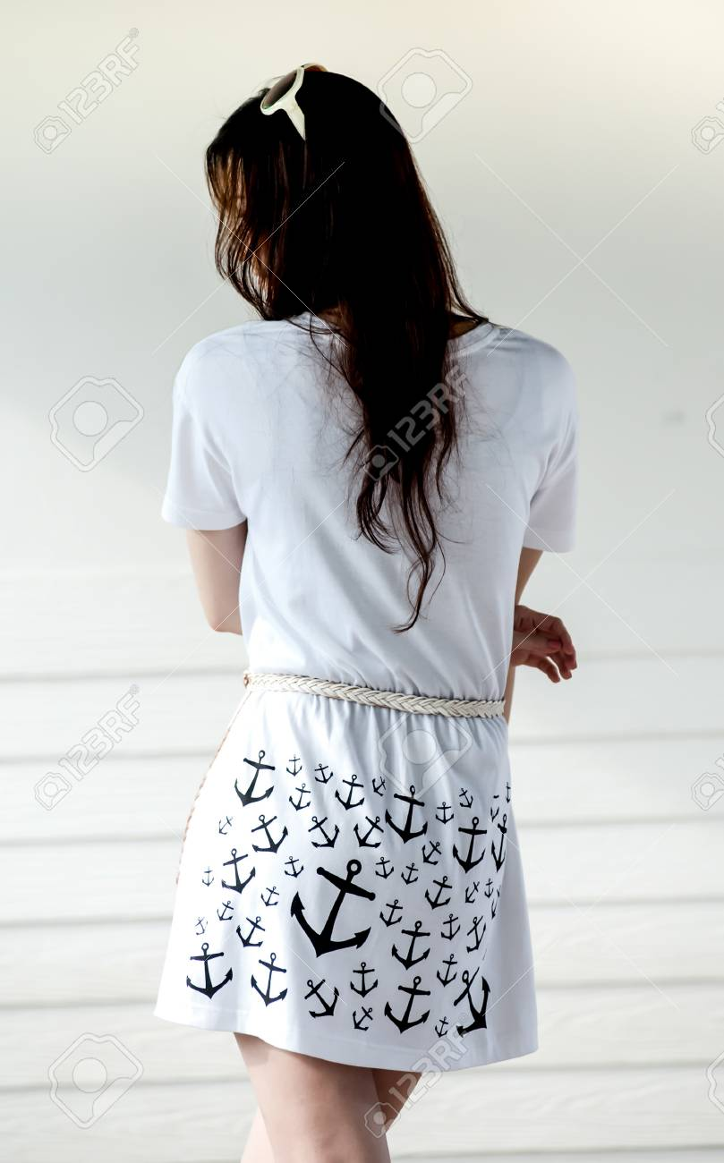 577e0c6b990b2 Stock Photo - Young woman wearing blank sleeveless t-shirt