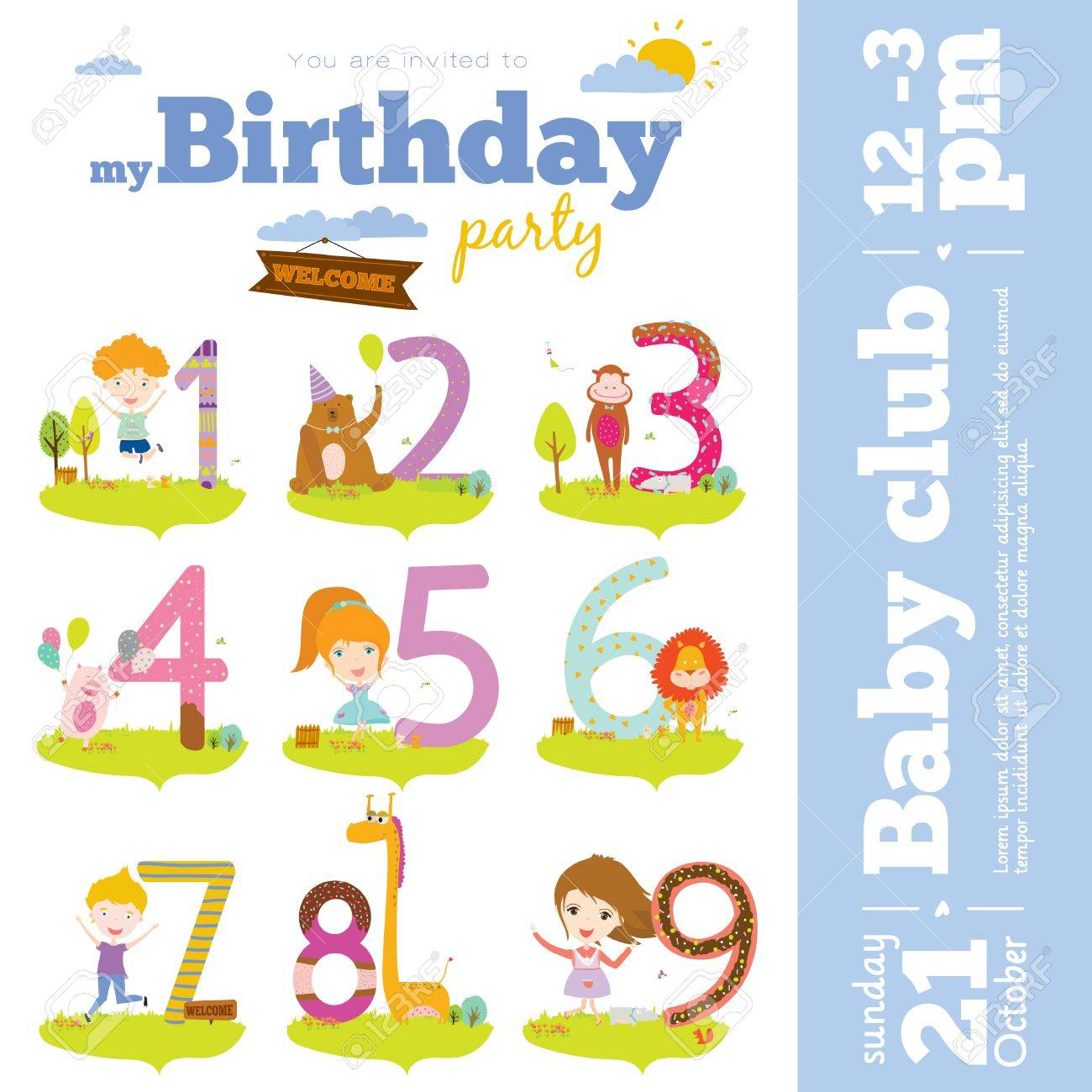 Birthday anniversary numbers with cute animals and kids and birthday anniversary numbers with cute animals and kids and birthday party invitation card template in cartoon stopboris Gallery